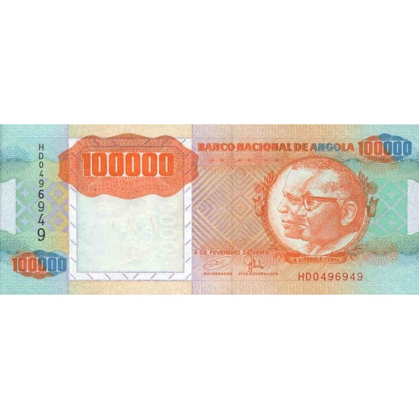 1991 - Angola P133 100.000Kwanzas banknote ERROR