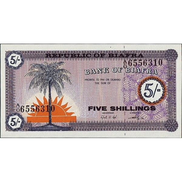 1967 -Biafra PIC 1   billete  de  5 Shillings