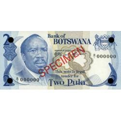 1979 -  Boswana PIC 2s    2 Pulas Banknote Specimen