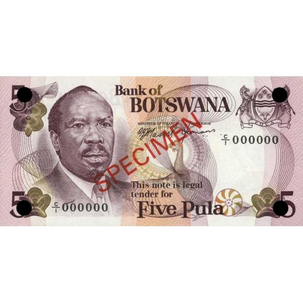 1979 -  Boswana PIC 3s   billete de 5 Pulas Especimen