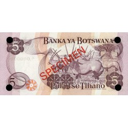 1979 -  Boswana PIC 3s    5 Pulas Banknote Specimen