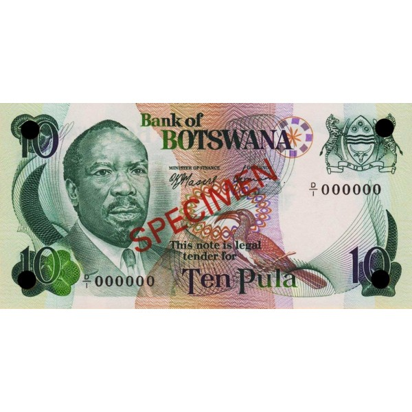 1979 -  Boswana PIC 4as   billete de 10 Pulas Especimen
