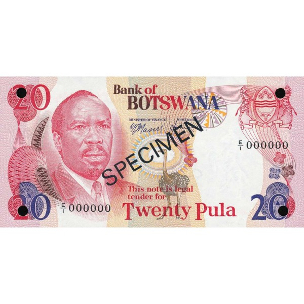1979 -  Boswana PIC 5as   billete de 20 Pulas Especimen