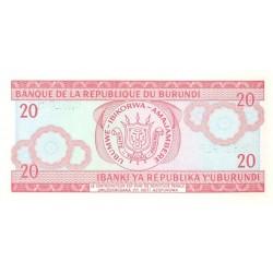 1991 - Burundi  PIC 27c    20 Francs banknote