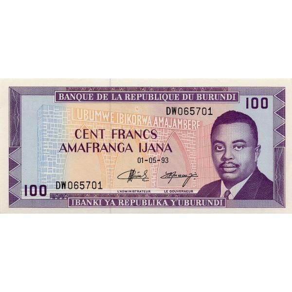 1993 - Burundi  PIC 29c    100 Francs banknote