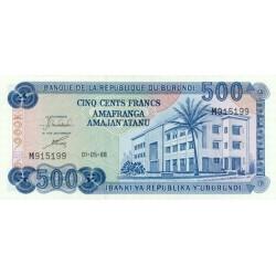 1988 - Burundi  PIC 30 c    500 Francs banknote
