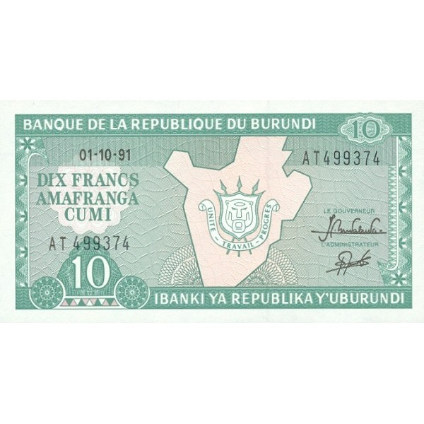 1991 -Burundi PIC 33b billete de  10 Francos