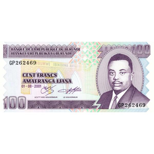 2001 - Burundi  PIC 37c   100 Francs banknote