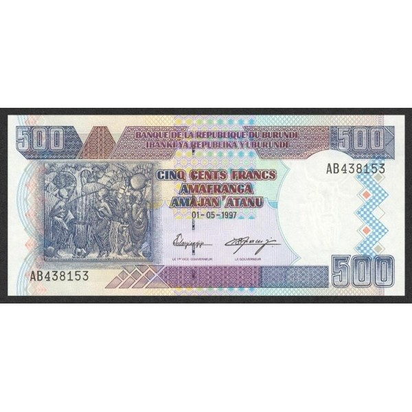 1999 -Burundi PIC 38b billete de  500 Francos