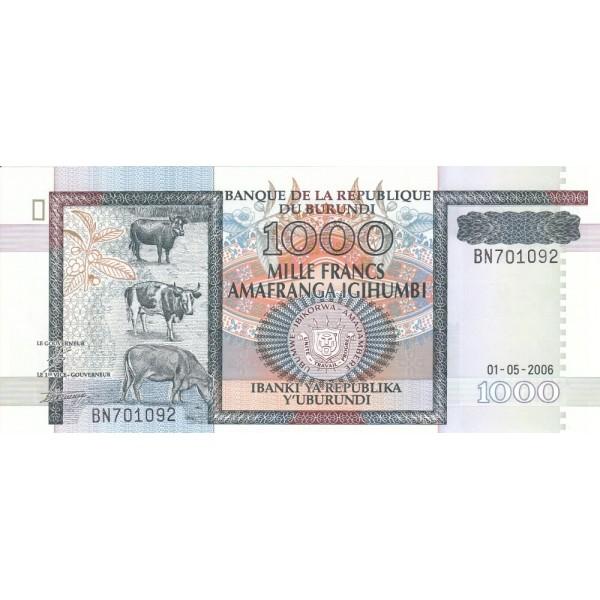 2006 -  Burundi  PIC 39 d  billete de 1000 Francos