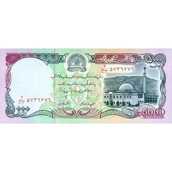 1993 - Afganistan pic 62 billete de  5000 Afghanis