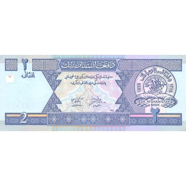 2002 - Afganistan pic 65 billete de  2 Afghanis