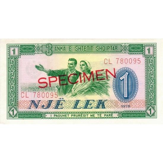 1976 - Albania P40s.2 1 Lek notebank Specimen