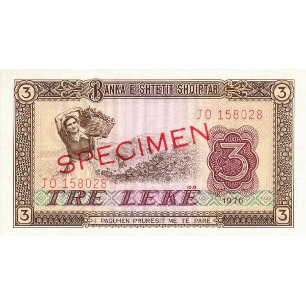 1976 - Albania P41s.2 3 Leke notebank Specimen