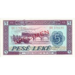 1976 - Albania P42s.2 5 Leke notebank Specimen