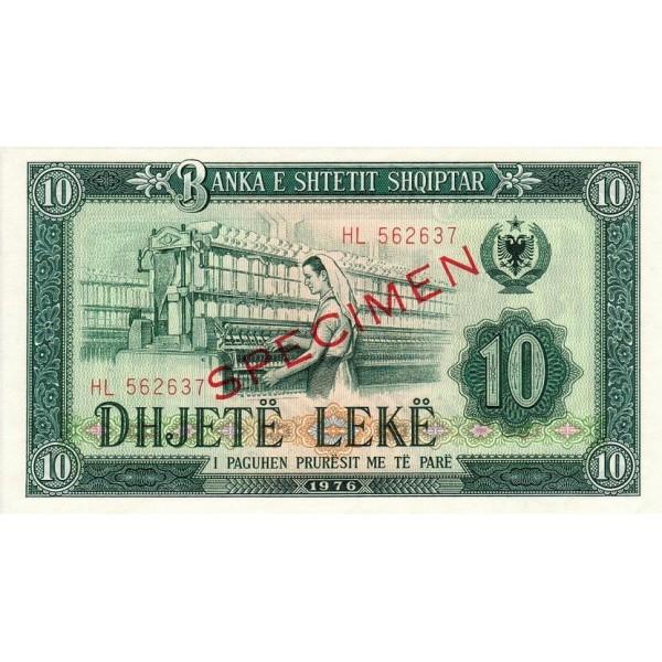 1976 - Albania P43s.2 10 Leke banknote Specimen