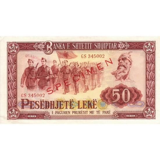 1976 -  Albania P45s.2 50 Leke banknote Specimen