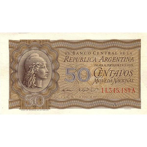 1950 - Argentina P259a billete de 50 centavos