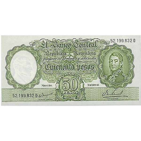 1968/69 - Argentina P276 billete de 50 Pesos