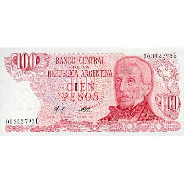 1977 - Argentina P302a billete de 100 Pesos