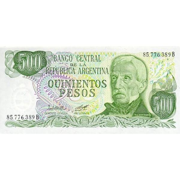 1982 - Argentina P303b billete de 500 Pesos
