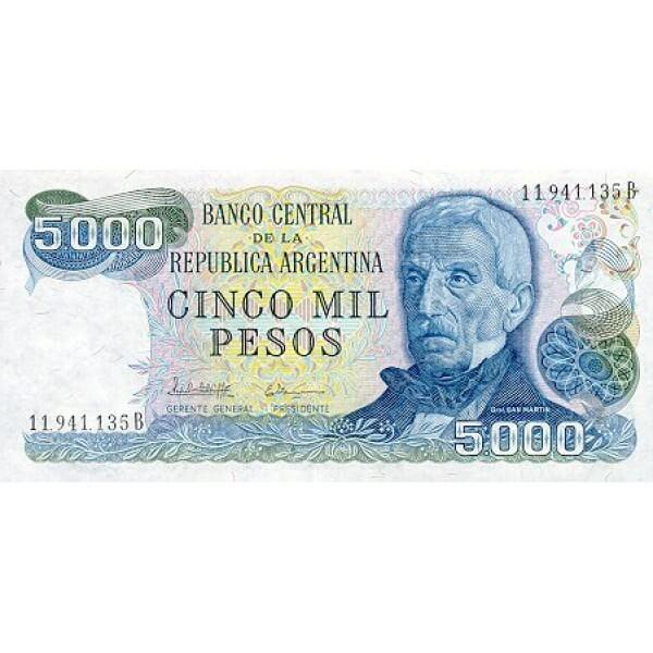 1977 - Argentina  P305b  billete de 5.000 Pesos