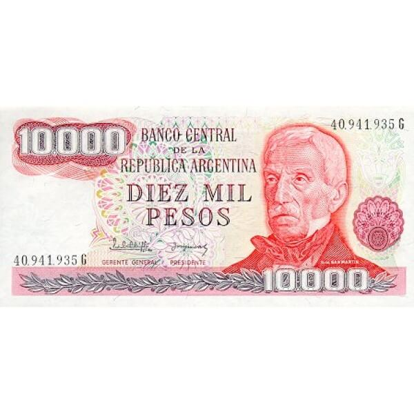 1976 - Argentina  P306b billete de 10.000 Pesos