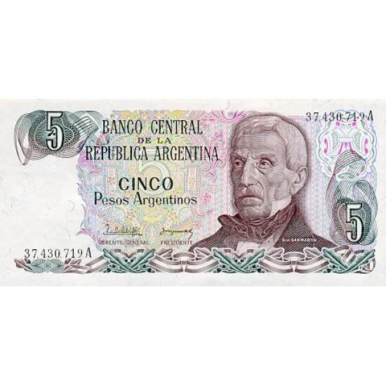 1983 - Argentina  P312a  5 Pesos banknote