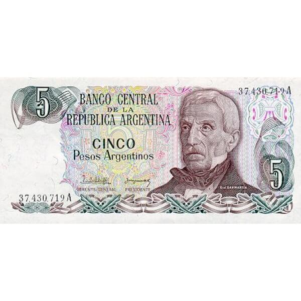 1983 - Argentina P312a billete de 5 Pesos