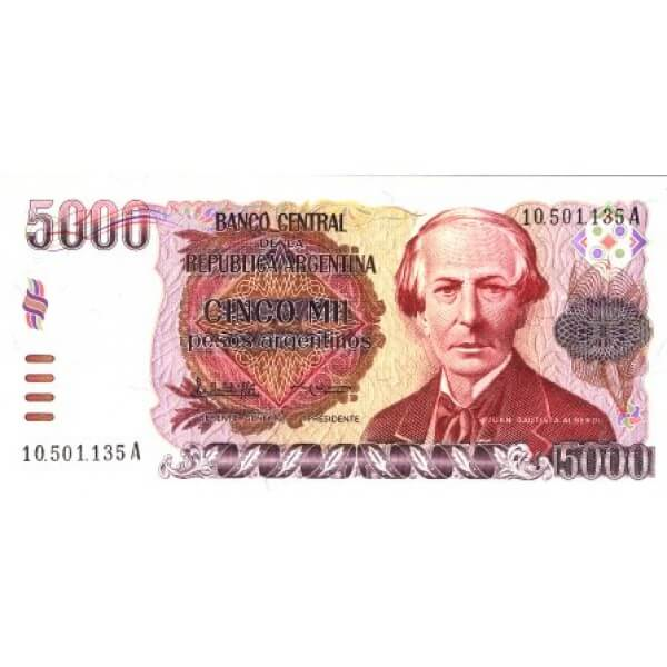 1985 -Argentina P318a 5,000 Pesos  banknote