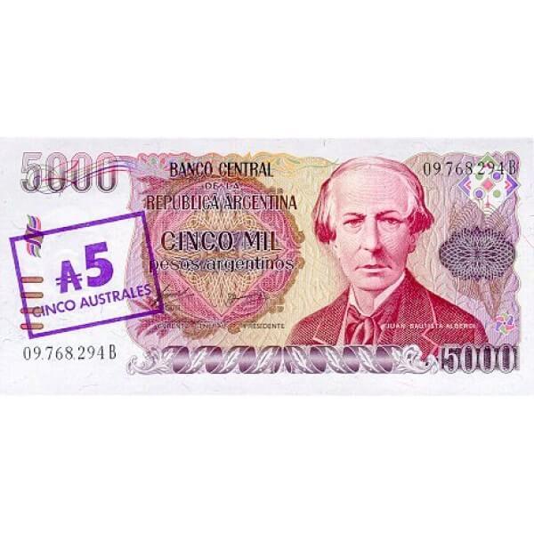 1985 - Argentina P321 billete de 5 Australes / 5.000 Pesos