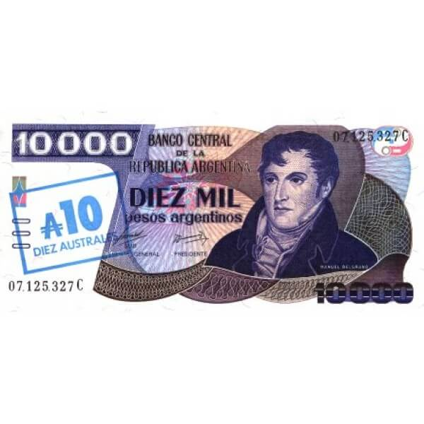 1985 - Argentina  P322c billete de 10 Australes / 10.000 Pesos