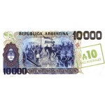 1985 - Argentina P322c 10 Australes / 10,000 Pesos banknote