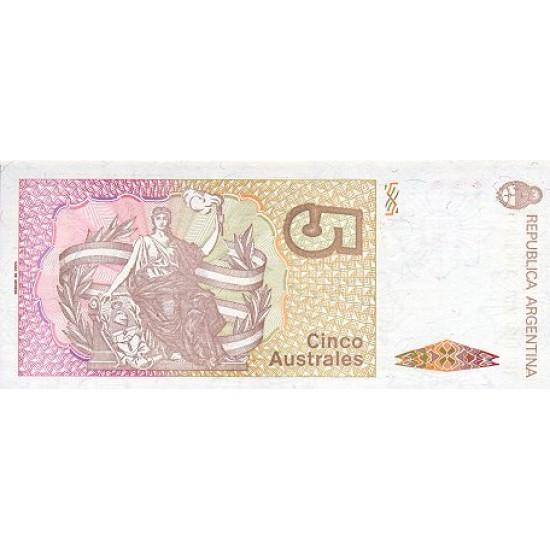 1989 - Argentina  P324b 5 Australes  banknote