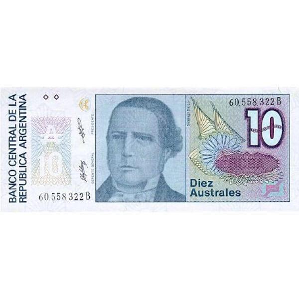 1989 - Argentina P325b billete de 10 Australes