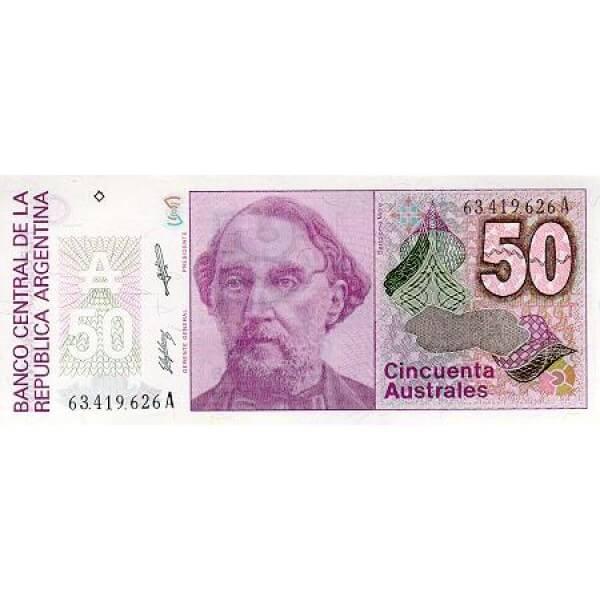 1989 - Argentina P326b billete de 50 Australes