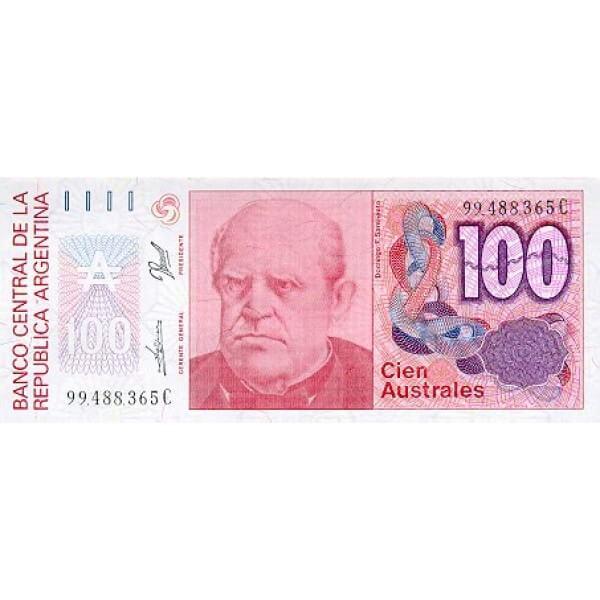 1989 - Argentina P327b  billete de 100 Australes