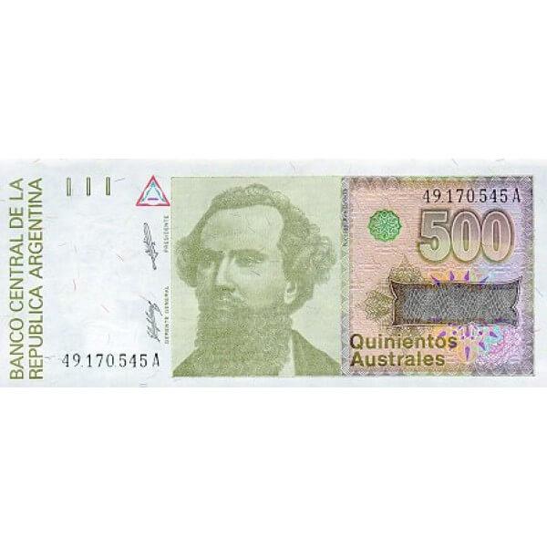 1990 - Argentina P328b billete de 500 Australes