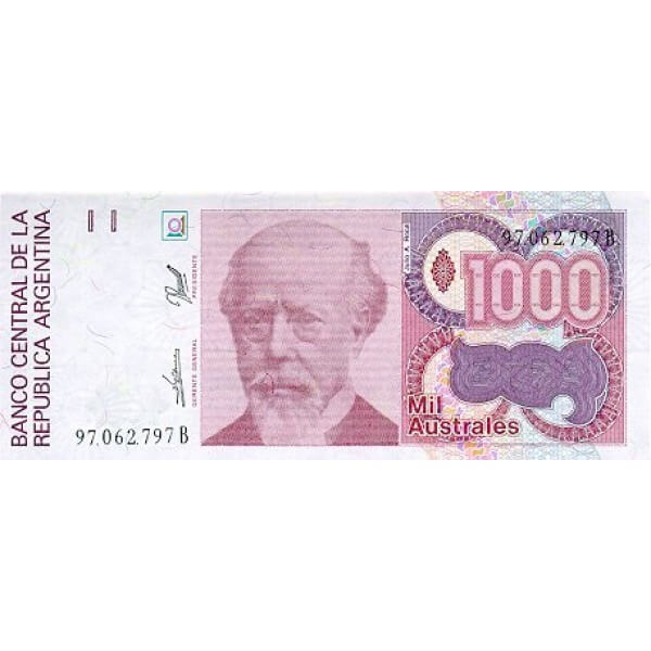 1990 - Argentina P329b 1,000 Australes  banknote