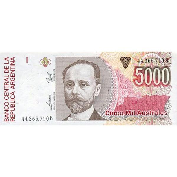 1991 - Argentina P330e billete de 5.000 Australes