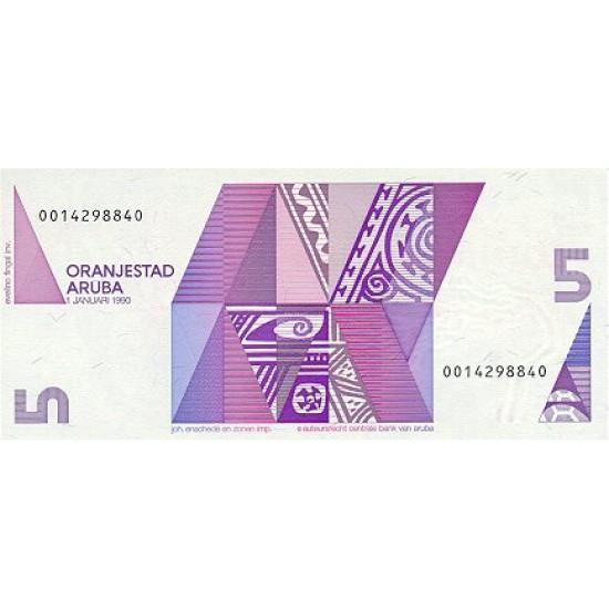 1990 - Aruba P6  5 Florins banknote