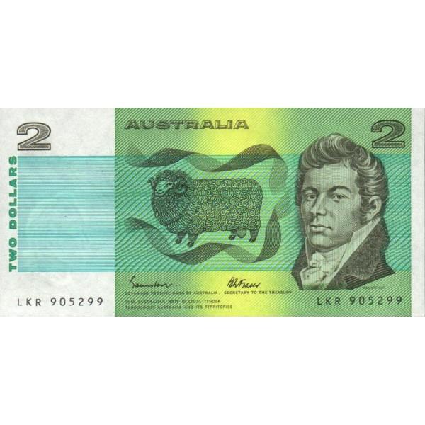 1985 - Australia P43e billete de 2 Dólares