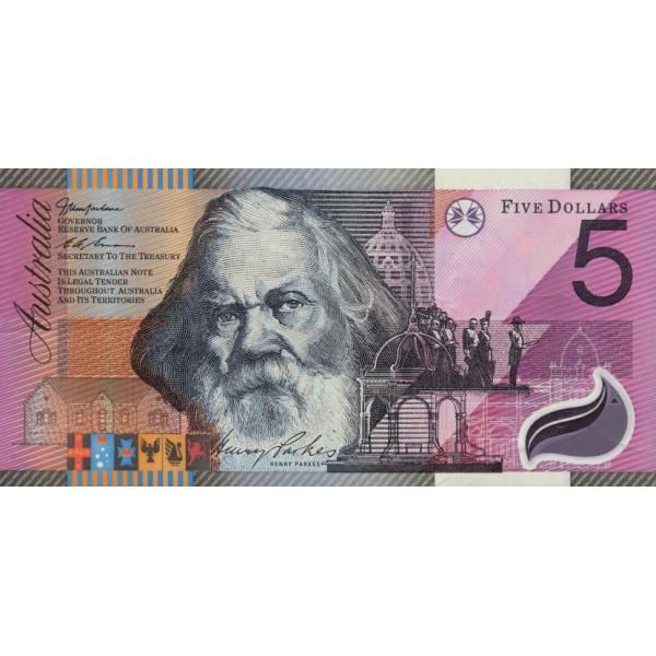 2001 -  Australia P56  5 Dollars polymer banknote