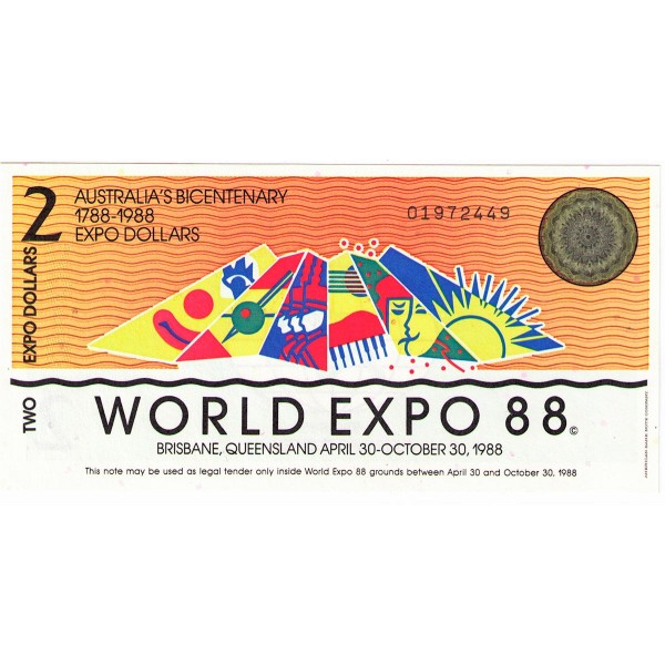 1988 - Australia Expo 88 Billete de 2 Dólares