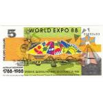 1988 -  Australia Expo 88 5 Dollars banknote