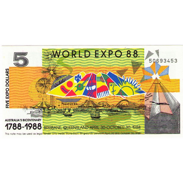 1988 - Australia Expo 88 Billete de 5 Dólares