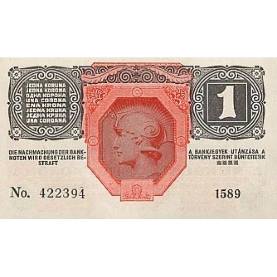 1919 - Austria P49 1 Krone banknote
