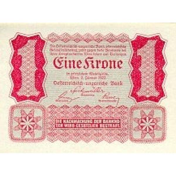 1922 - Austria p73 1 Krone Banknote