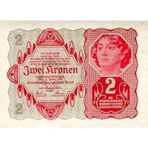 1922 - Austria P74 2 Kronen  banknote