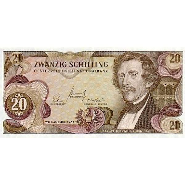 1968 - Austria P142 20 Shillings Banknote